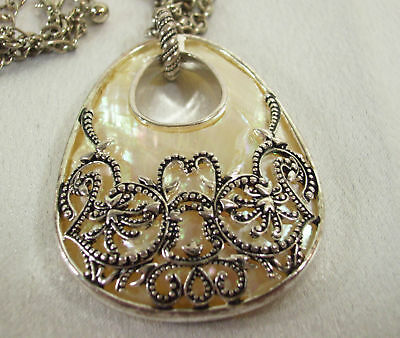 MONET Silver Plate FILIGREE over Mother Pearl Pendant Medallion Necklace Chain