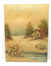 "Summer Country Scene Oil Painting On Canvas by Henderson 16""X12"" Upstate NY - $37.39"