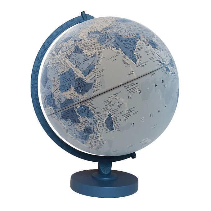"Primary image for Replogle World Globe 12"" Blue Wood Base Classroom Home Raised Embossing"