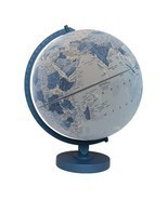 "Replogle World Globe 12"" Blue Wood Base Classroom Home Raised Embossing - $77.99"