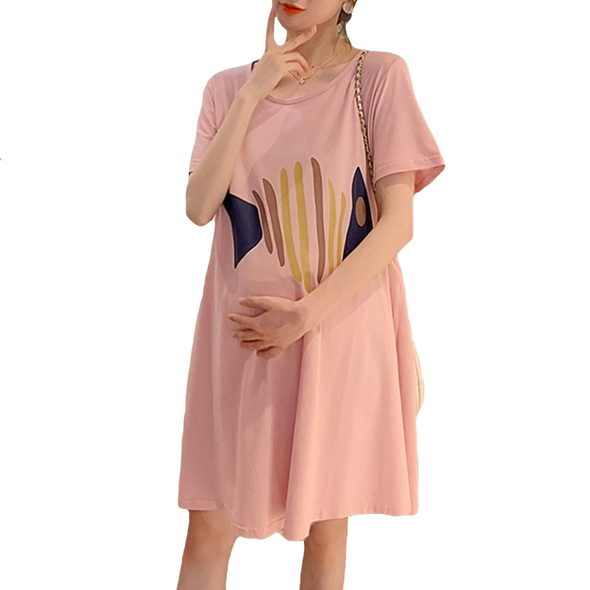 Maternity Dress Cartoon Simple Short Sleeve Loose Comfy Dress