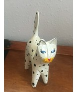 Estate Carved White w Black Polka Dots Wood Wooden Retro Kitty Cat Figur... - $11.29