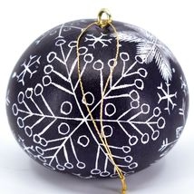 Handcrafted Carved Gourd Art Winter Snowflake Ornament Made in Peru image 3