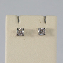 SOLID 18K WHITE GOLD EARRINGS WITH ZIRCONIA WIDTH 0,12 INCHES, MADE IN ITALY image 1