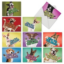 """10 'Dog Miss You This Much' Note Cards with Envelopes Mini 4"""" x 5.25"""", B... - $12.16"""