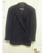 Christian Dior Monsieur Mens Suit Coat Jacket Blue Double Breasted Wool - $10.40