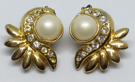 Faux Pearl & Rhinestone Clip On Earrings Gold Tone Metal Vintage Feather... - $8.90