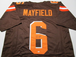 BAKER MAYFIELD / CLEVELAND BROWNS / AUTOGRAPHED CUSTOM FOOTBALL JERSEY / COA image 1