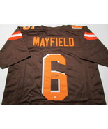 BAKER MAYFIELD / CLEVELAND BROWNS / AUTOGRAPHED CUSTOM FOOTBALL JERSEY / COA - $197.95
