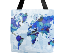 Tote bag All over print Design 105 World Map blue Earth continents L.Dumas - $29.99+