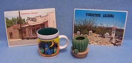 Vintage Lot Arizona Souvenirs Cup/Mug  Cactus Pot & 2 Postcards Wolf Moon  - $13.16