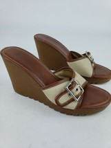 Women's Coach Shoes Size 8.5 M Terry Buckle Signature  Wedges Sandals Leather - $28.04