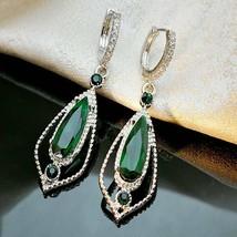 Elegant Women 925 Silver Emerald Ear Hook Dangle Earrings Wedding Jewelr... - $1.70
