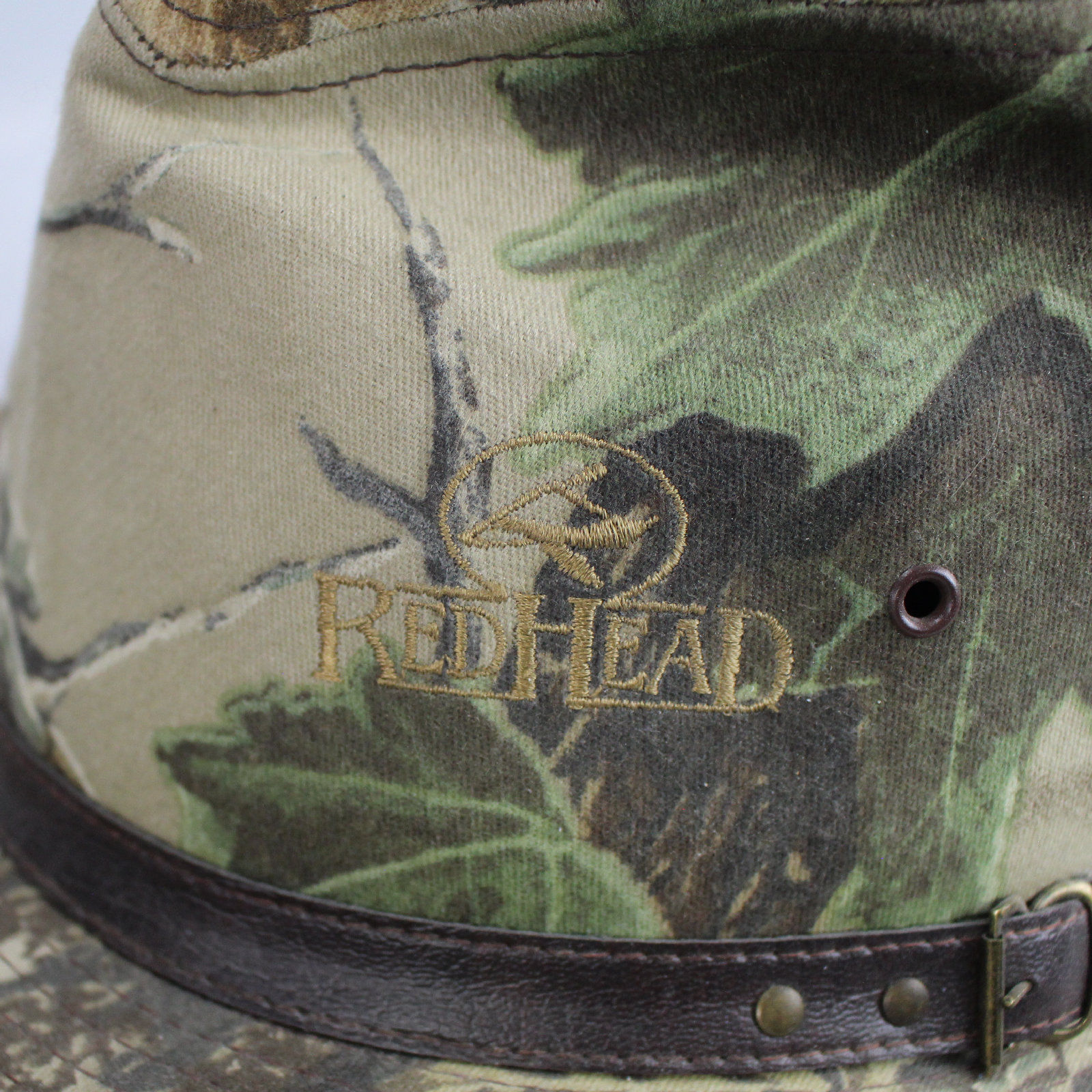 RedHead Realtree Safari Camouflage Large Fitted Hat USA Brown Leather Hat Band