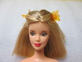 BARBIE 1990's SHOULDER LENGTH STREAKY BLONDE HAIR ROSE LIPS NUDE FOR OOAK - $12.58