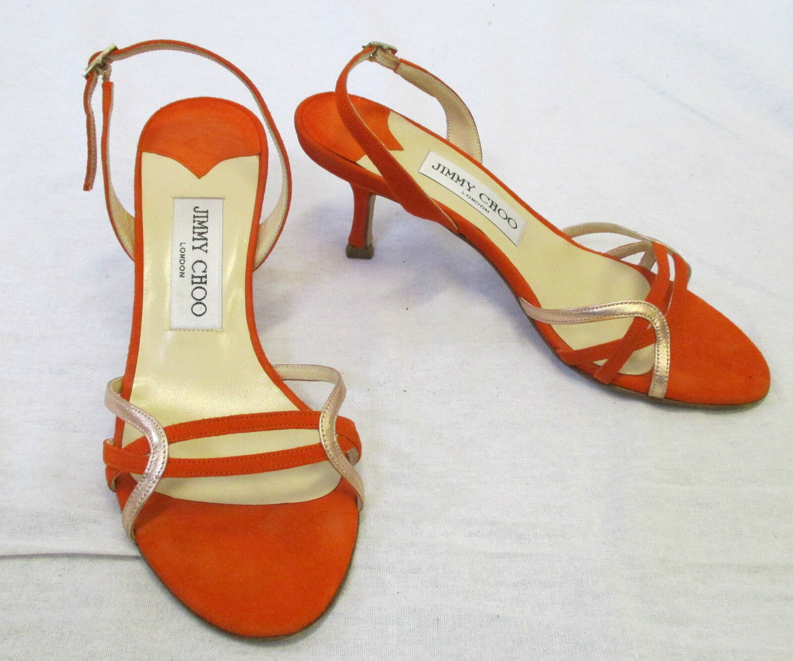 Primary image for JIMMY CHOO Orange Suede Slingback Sandals w/ Pink Gold Metallic Accents - 35