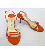 JIMMY CHOO Orange Suede Slingback Sandals w/ Pink Gold Metallic Accents ... - $119.99
