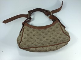 Dooney & Bourke Logo Brown Canvas Purse With Brown Leather Strap - $39.99