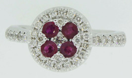 Real 0.85 Ct Ruby Red Halo Diamond Ring Solid 14K White Gold Fine Jewelry - $2,120.58