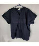 Robinson Apparel Womens Scrub Top Sz XL Dark Blue Short Sleeve Uniform - $15.71