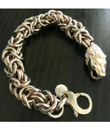 Vintage Bella D'Va Lions Head Bracelet 18k Gold Plated Bronze Made In Italy - $49.49