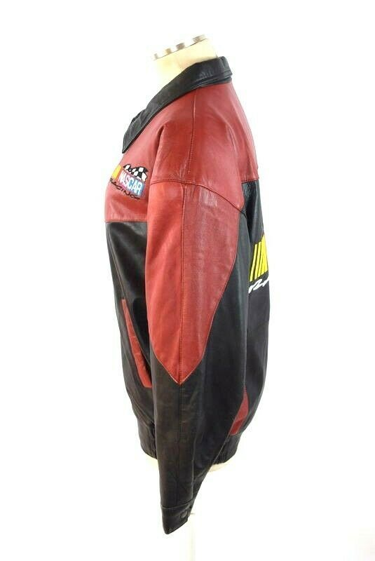 Vtg 90s Nascar Racing Soft Black & Red Luxe Leather Retro Bomber Jacket Mens S image 3