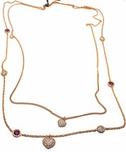 """REBECCA BRONZE ROSE LONG NECKLACE 31.5"""", DOUBLE CHAIN, HEART DISC, B14KRA38 image 1"""