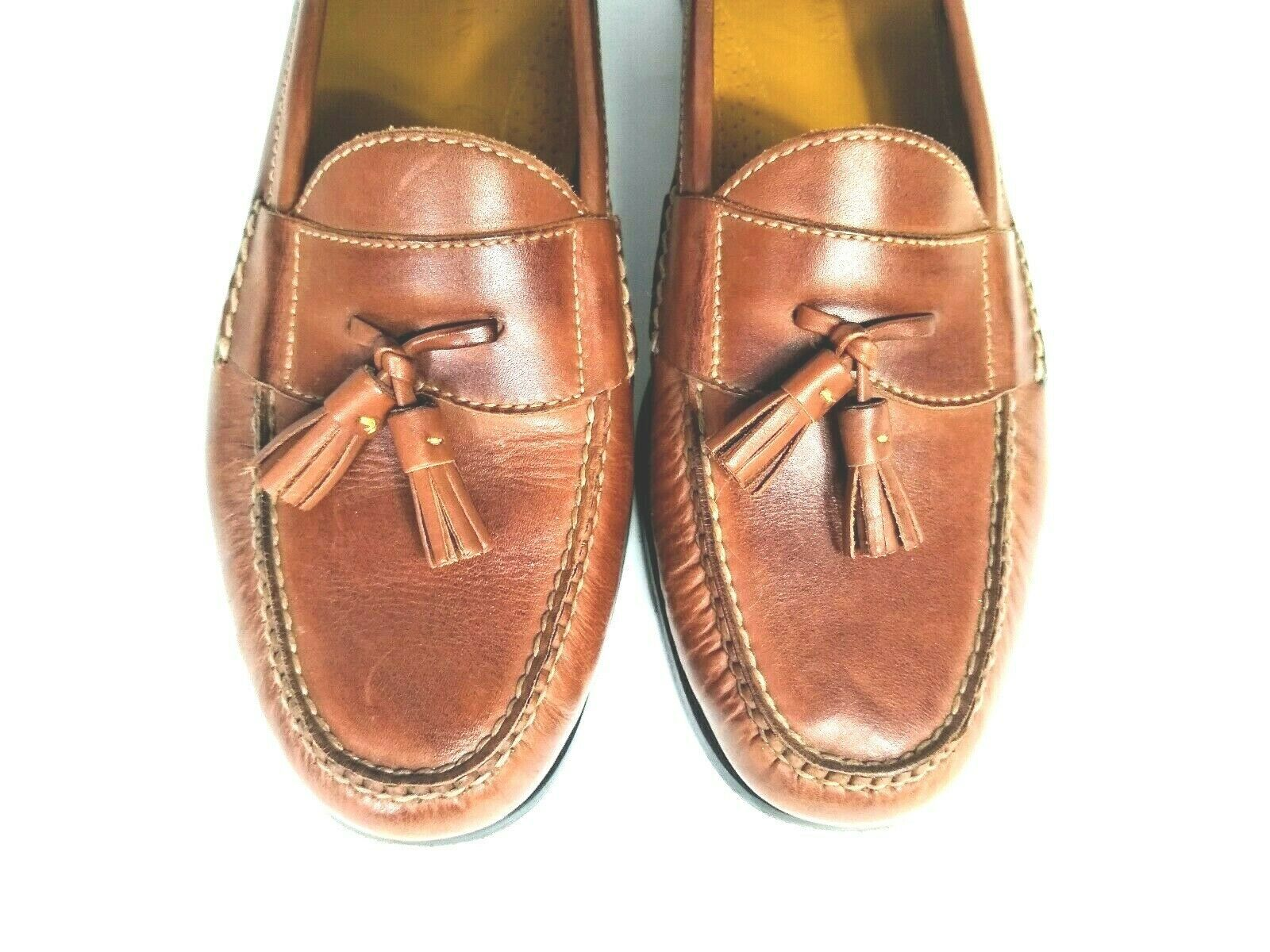 Cole Haan Men's Brown Leather Slip On Dress Pinch Tassel Loafer Sze 12 Air Sole  image 8
