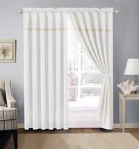 4-P Embroidery Quatrefoil Geometric Trellis Curtain Set Blue Silver Gray Valance