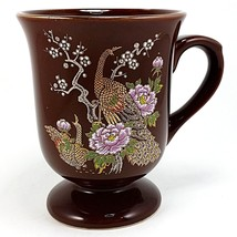 Peacock Pedestal Coffee Mug Cup Brown Vintage Ychina Japan 10oz Gold Tri... - $11.99