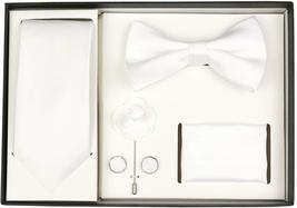 Berlioni Men's Handmade Microfiber Tie Bowtie Lapel Hanky Cufflinks Gift Box Set image 12