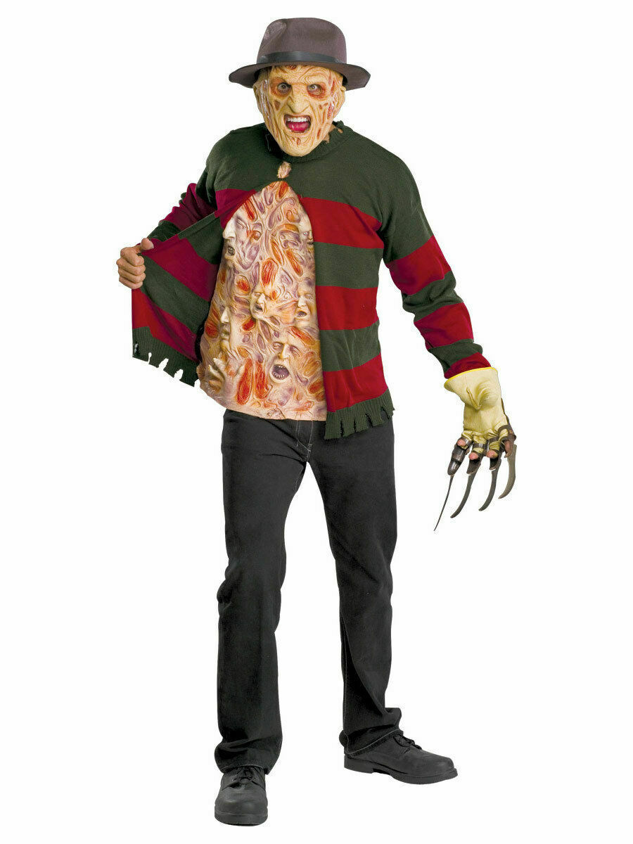 Men's Freddy Krueger Chest of Souls Halloween Costume Kit with Hat and Mask