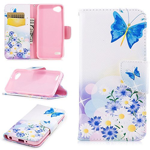 XYX Wallet Phone Case for LG Q6,[Butterfly Love][Kickstand][Wrist Strap][Card Sl