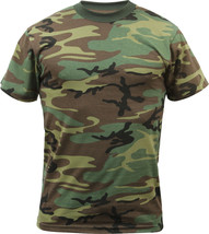 Mens Woodland Camo Tactical T-Shirt Military Army Green Camouflage Short... - $10.99+