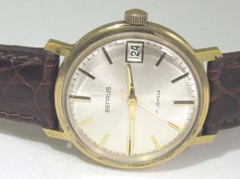 BENRUS VINTAGE MEN WATCH 17 JEWELS MODEL 11AC 2P8C-212 GOLD ELECTROPLATED - $191.25