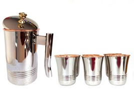 Jug Copper,Decanter Drinkware Set of 6, Water Glasses Pitcher Capacity 1... - $73.70