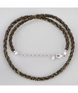Golden Sheen Obsidian 3 Layer Twisted Rope Necklace in 925 Sterling Silv... - $37.99