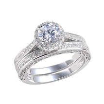 White Gold Plated 925 Sterling Silver Round Cut Diamond Bridal Wedding Ring Set - $94.88