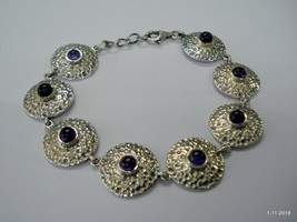 ethnic sterling silver bracelet bangle cuff amethyst gemstone bracelet - $88.21