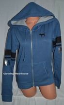 Victoria's Secret PINK Cozy Fleece Lined Full Zip Hoodie Sweatshirt Blue... - $64.99
