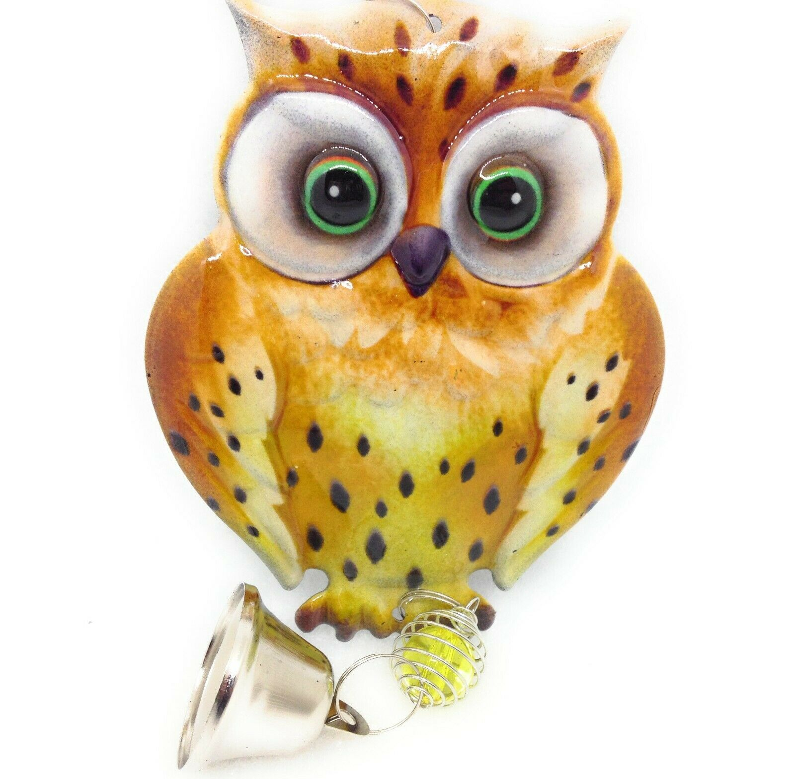 Primary image for Metal Hanging Owl Decoration Glass Marble Chain Bell Brown New GSC 63120