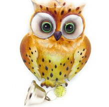 Metal Hanging Owl Decoration Glass Marble Chain Bell Brown New GSC 63120 - $12.56