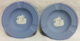 "2 Wedgewood Blue Jasperware White Cameo "" Cupid Asleep "" 3 Slot Ashtray Pair - $17.99"