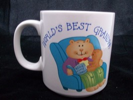 Coffee Mug World's Best Grandpa Ceramic Russ Berrie Cocoa Cup Adorable B... - $19.99