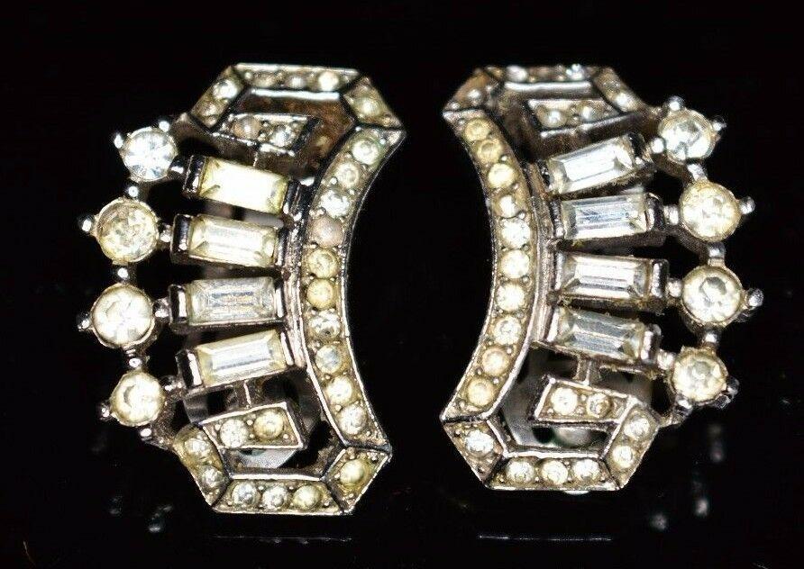 VTG CROWN TRIFARI 1940s Art Deco Clear Rhinestone Clip Earrings Alfred Philippe