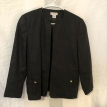Vintage Talbots Womens 8 Blazer Linen Lined Black Open Front Side Pocket... - $14.98