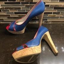 Nine West Red blue Colour Code peep toe cork heels - $45.54