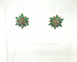 14k Yellow Gold Genuine Natural Emerald & Diamond Flower Earrings (#3703) - $498.75