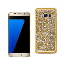 REIKO SAMSUNG GALAXY S7 EDGE JEWELRY BLING RHINESTONE CASE IN GOLD - $9.40