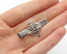 925 Sterling Silver - Vintage Shiny Chinese Character Tie Clip - T2181 - $31.79